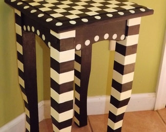 Hand Painted Tea Table Whimsical Black And Creme Checkered Table