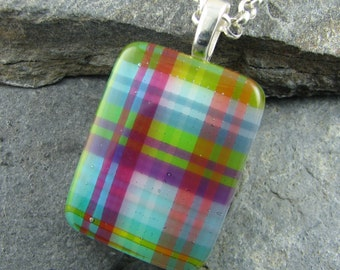 Colorful Plaid Pendant Design. Fused Art Glass Pendant. Casual Pendant. Handmade Glass Necklace. Gift for Women. Plaid Glass. Trendy Jewelr