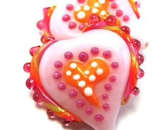 Raspberry Salsa Pink Primitive Hearts