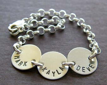 """Custom Bracelet - Personalized Sterling Silver Hand Stamped Charm Jewelry - 1/2"""" Charm with Optional Birthstones or Pearl in Rolo Chain"""