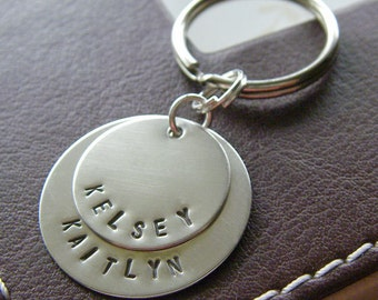 Custom Keychain - Personalized Hand Stamped Sterling Silver - Two Layered Key Chain - Perfect Gift for Father's Day