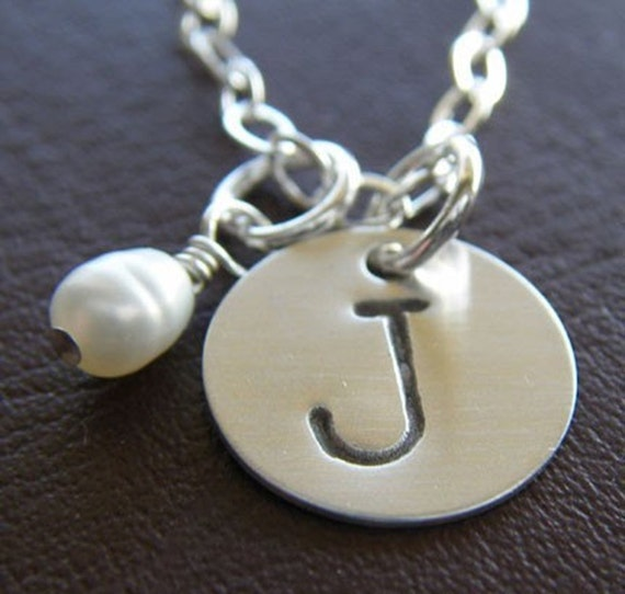"Personalized Initial Necklace - Custom Sterling Silver Hand Stamped Charm Jewelry - 1/2"" Initial Charm with Optional Birthstone or Pearl"