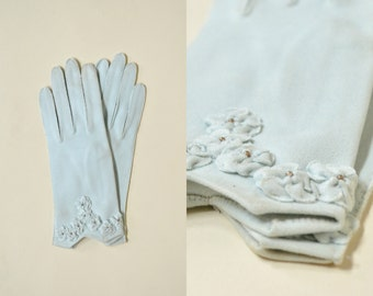 Vintage Blue Gloves --- 1950s Deadstock Cotton Gloves