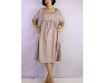 Flower cotton loose comfy boho short dress one fit all size (TU 5)