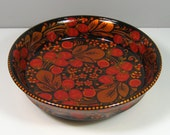 Golden Khokhloma Lacquered Wooden Strawberry Pattern Bowl Made in Russia USSR