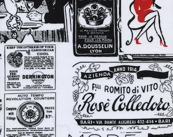 "FAT QUARTER FQ32 Timeless Treasures Mode Rouge Vintage Patchwork Black POPPY-C6986 Precut 18""x22"" Fabric Cotton Quilting"