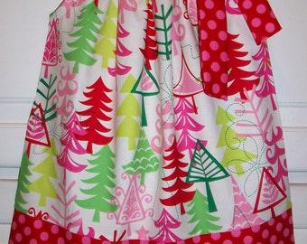 Christmas Dress Pillowcase Dress Yule Trees Dress Michael Miller girls dresses Holiday Dresses Christmas Outfit Christmas Dresses