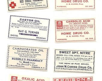 60 1930s plus Drugstore,Pharmacy ,Poison and Medicine Labels etc