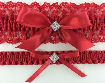 All Red Bridal Wedding Garter Set
