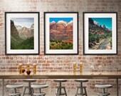 Zion Utah Photo Set, Three Photos of Utah Nature Photography, Large Landscape Prints, Southwest Decor, Large Wall Art, Inspirational Nature