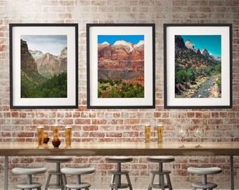 Zion National Park Set of 3 Photos, Nature Art Collection, Southwest Photography, Utah Nature Photography, Landscape Prints, Southwest Decor