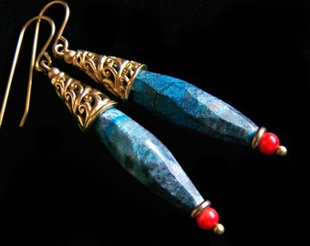 Faceted Azurite Chrysocolla Earrings Coral Accent, natural stone Long Spike Blue, Genuine Bali Solid Brass Bohemian Boho Chic pinkowljewelry