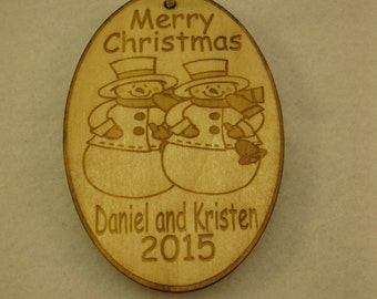 Christmas ornament - Personalized wooden snowman couple ornament with name and date - couple's first  Holiday