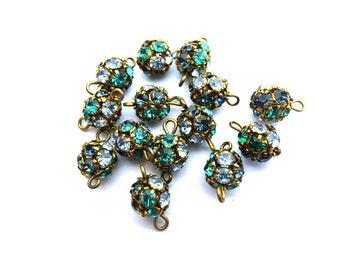 2 Vintage Swarovski connector ball BEADS crystal 8mm green, blue, light blue rhinestones in brass setting