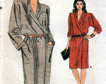 80s Sewing Pattern A line Wrap Dress Vogue 9057 Size 12 34inch 87cm bust