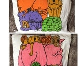 Vintage zoo safari animal beach towel terry cloth bath child elephant lion koala mouse hippo owl walrus turtle rainbow collectible rare pink