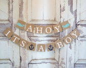 Ahoy It's a Boy baby shower banner, nautical theme, baby shower, whales, baby shower decorations, nursery decoration, baby room , photo prop
