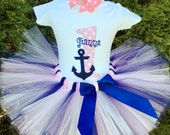 Baby Girl 1st Birthday Outfit - Nautical Birthday - First Birthday Tutu - Cake Smash - Pink and Navy