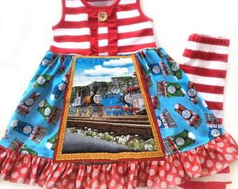 Thomas the Train dress, Thomas and Friends, momi boutique