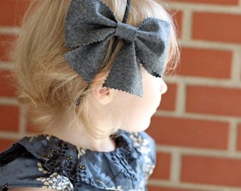 Big Bow Headband in Charcoal Grey Wool, for Girl, Toddler, Holiday and Winter