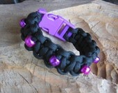 Black and Purple Paracord Bracelet with Purple Beads