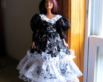 Barbie Dress Black and White Lace