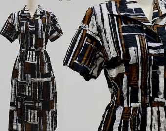 Vintage 70s dress stripe cotton 1970s retro mod women 1950s shirt brown small medium short sleeve full skirt midi 50s shirtwaist sundress sm