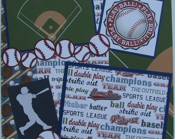 PLAY BALL...baseball...TWO completed 12x12 Premade Scrapbook pages