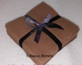 Solid TOBACCO BROWN FLANNEL Fabric Squares for Rag/Traditional Quilting you pick size & quantity