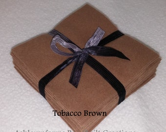 Solid TOBACCO BROWN, FLANNEL Fabric Squares, Rag Quilt, Traditional Quilting, pick size & quantity, We Cut You Sew