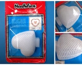 Vintage 1984 Needle Form Heart Shaped Dimensional Plastic Canvas for Needlepoint, Package of 5 Heart Canvases, Sealed Original Package