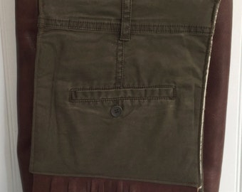 Upcycled Army Green Messenger Bag