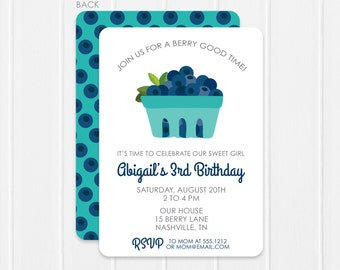 Blueberry Invitation / Blueberry Party Invitation / Blueberry Birthday Invitation
