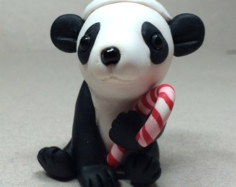 Panda with Candy Cane Ornament by Shelly Schwartz