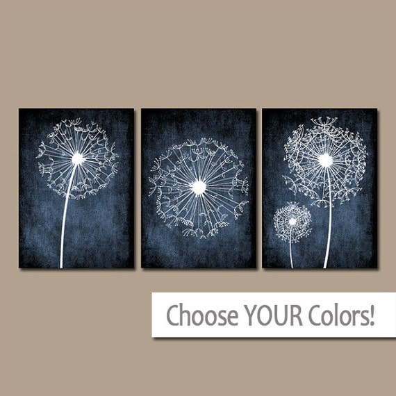 Light Blue Bathroom Wall Art Canvas Or Prints Blue Bedroom: DANDELION Wall Art Flower Navy Blue Custom Colors Grunge