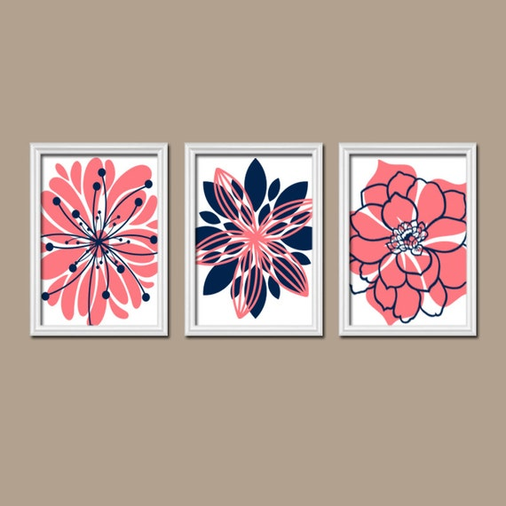 Navy Bathroom Wall Decor : Navy coral wall art canvas or prints nursery by