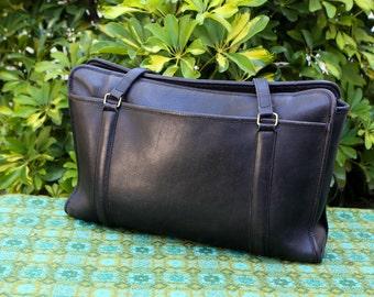 Vintage Coach Extra Large Black Leather Messenger Briefcase Work Shoulder Bag Purse