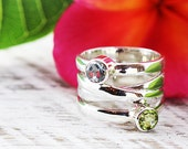 Topaz Peridot Ring 925 Sterling Silver Womens Rings Personalized Gemstones