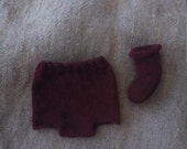 Diaper Cover and Booties to Match Beet Hat 3-6 mo Sz
