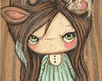"Dream Catcher Girl Original Painting Canvas on Wood Art 2.5"" x 6"""