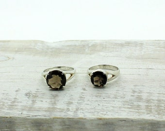 Tiny rings,delicate jewelry,Faceted stone ring, Quartz rings,smokey quartz jewelry,small natural stones rings,faceted natural stones jewelry