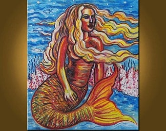 My Mermaid -- 20 x 24 inch Original Oil Painting by Elizabeth Graf on Etsy -- Art Painting, Art & Collectibles
