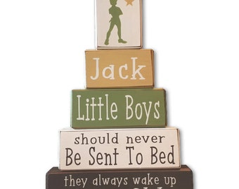 Peter pan nursery personalized sign blocks little boys neverland playroom disney nursery stacking wood blocks distressed painted wood blocks