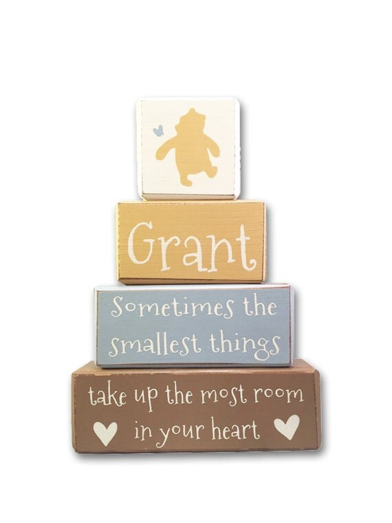 Classic winnie the pooh disney stacking wood blocks baby gift like this item negle Choice Image