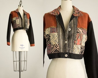 90s Vintage Cotton Tapestry Cropped Jacket / Size Small