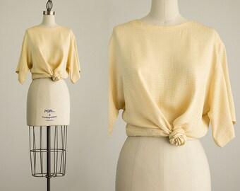 90s Vintage Ann Klein Silk Golden Slouchy Tunic Blouse / Size Large