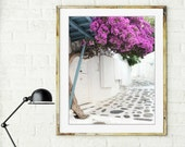 Greece photography - flower photograph  white bright pink decor - bougainvillea flowers Greece street print  whitewashed street