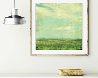 """Summer meadow landscape photograph retro style pastel blue green vintage inspired square wall art print """"Green Summer"""""""
