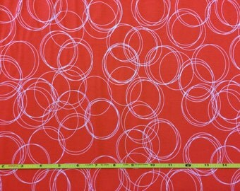 NEW Riley Blake Four Corners Circles Coral on cotton Lycra  knit fabric 1 yd