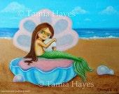 Original Big Eye Art Acrylic Painting Canvas Mermaid Ocean Pearls Beach Chicasol